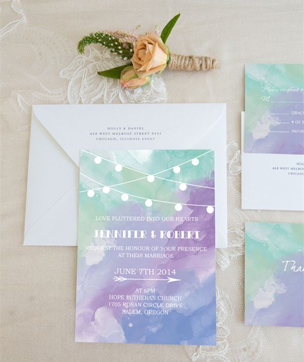 purple and green watercolor wedding invitations weddingcards - Watercolor Wedding Invitations