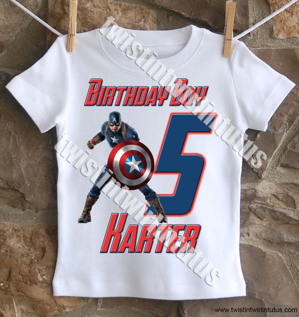 Captain America Birthday Shirt