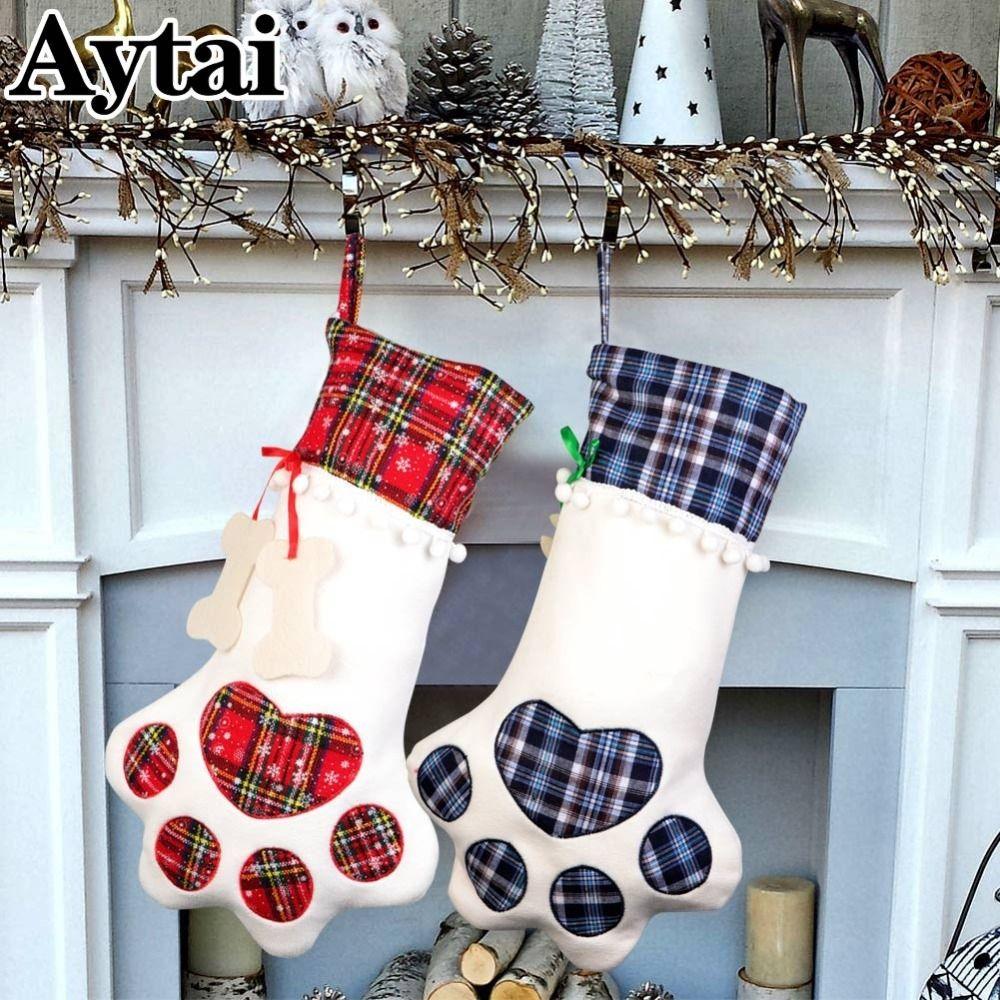Pet Christmas Stockings Cat Dog Paw Stocking Gift Bag Xmas New Year Home Decor