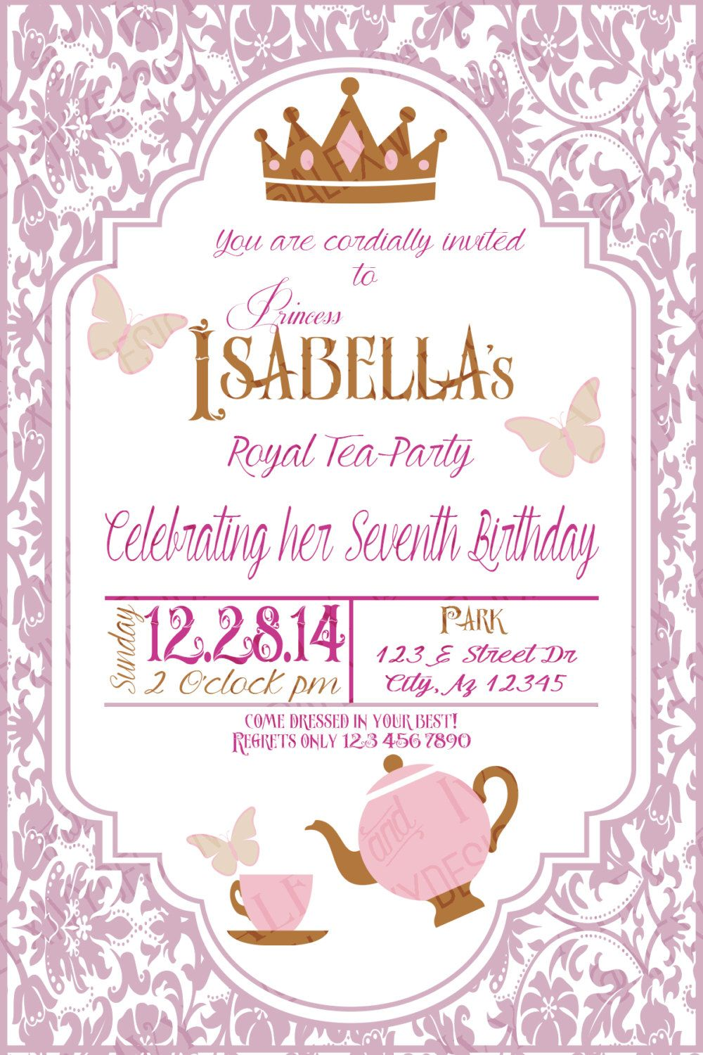 royal tea party invitation diy printable in 2018 6th birthday