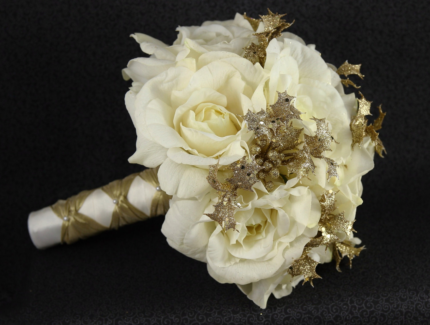 Winter wedding bridal bouquet boutonniere natural cream white items similar to cream white gold wedding bridal bouquet boutonniere natural cream white ivory real touch roses gold glittered accents christmas on izmirmasajfo