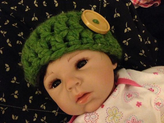Soft Crochet Hat Green Newborn by duzins on Etsy