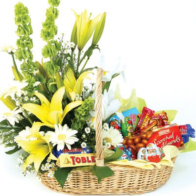 Easter basket flower arrangements chocolate pleasure flower chocolate pleasure flower basket online florist auckland wellington christchurch and all over new zealand negle Choice Image
