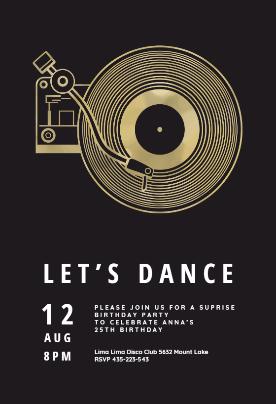 music record player invitation template customize add text and