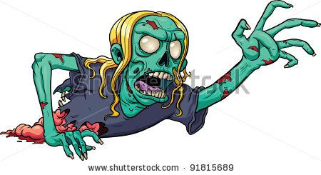 Crawling Cartoon Zombie Vector Illustration With Simple Gradients All In A Single Layer Stock Vector Zombie Cartoon Zombie Drawings Zombie Illustration