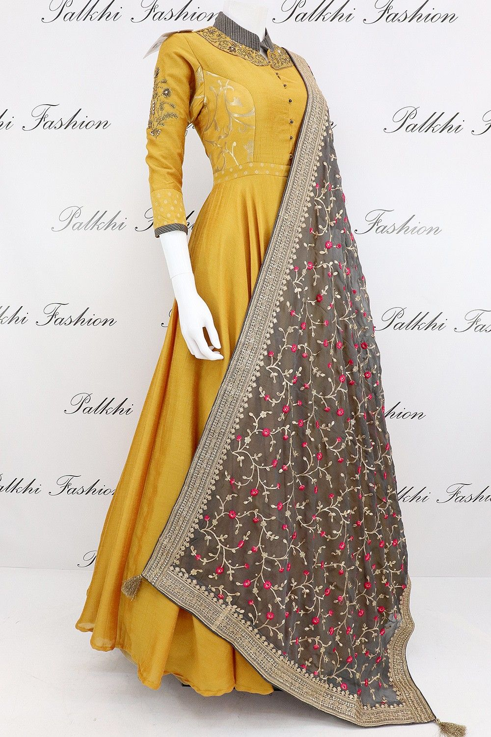 02475a0e36c Elegant Mustard Pure Silk Designer Outfit with Gorgeous Dupatta in ...