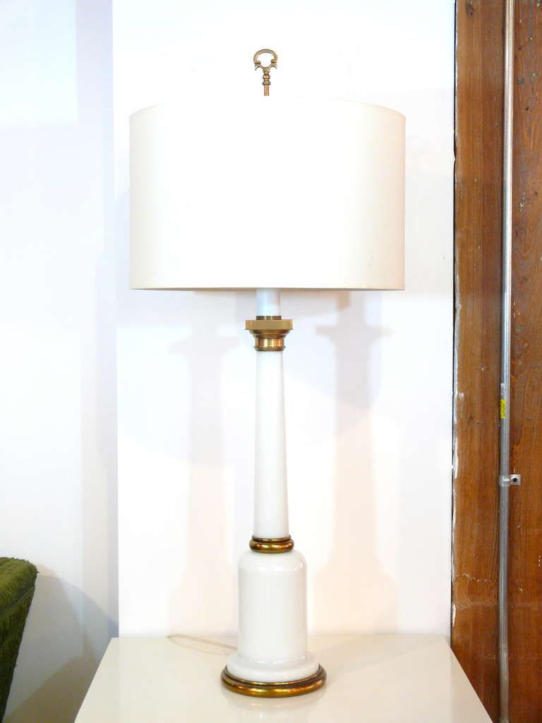 White Opaline Glass Lamps by Warren Kessler - found one like this with hand painted violets.