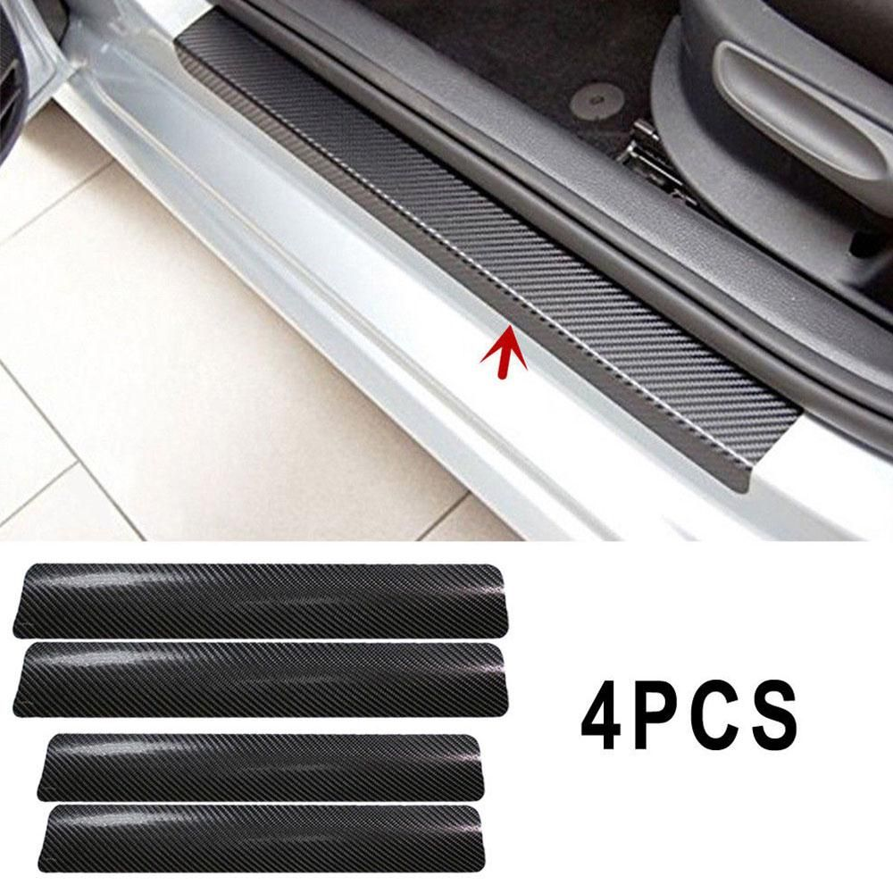 4Pc 4D Carbon Fiber Anti Scratch Door Sill Scuff Decals Sticker For Honda Civic