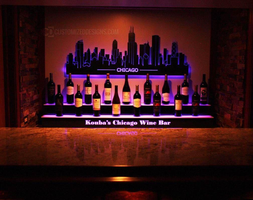 Led Lighted Liquor Shelves Illuminated Home Bar Displays 2 Tiers Bar Displays Liquor Shelf Home Wine Bar