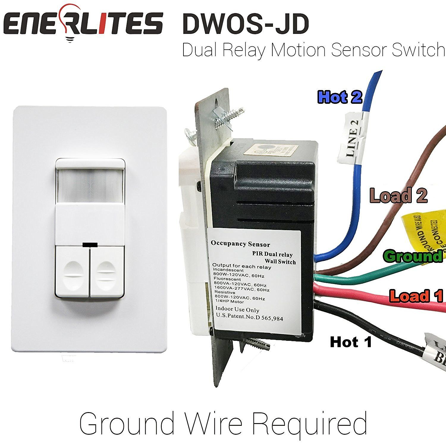 Enerlites Dwos Jd Dual Relay Occupancy Sensor Switch Bi Level Pir Pive Infrared No Neutral Wire Required White