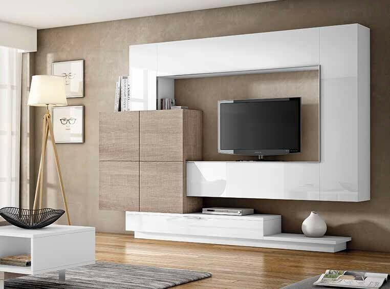 Moderne Wohnwand Anbauwand In Lack Holz Nb Lowboard Highboard