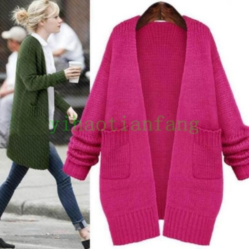 Hot Sell Womens Cardigan Sweater Long Sleeve Knit Loose Wool Blend ...