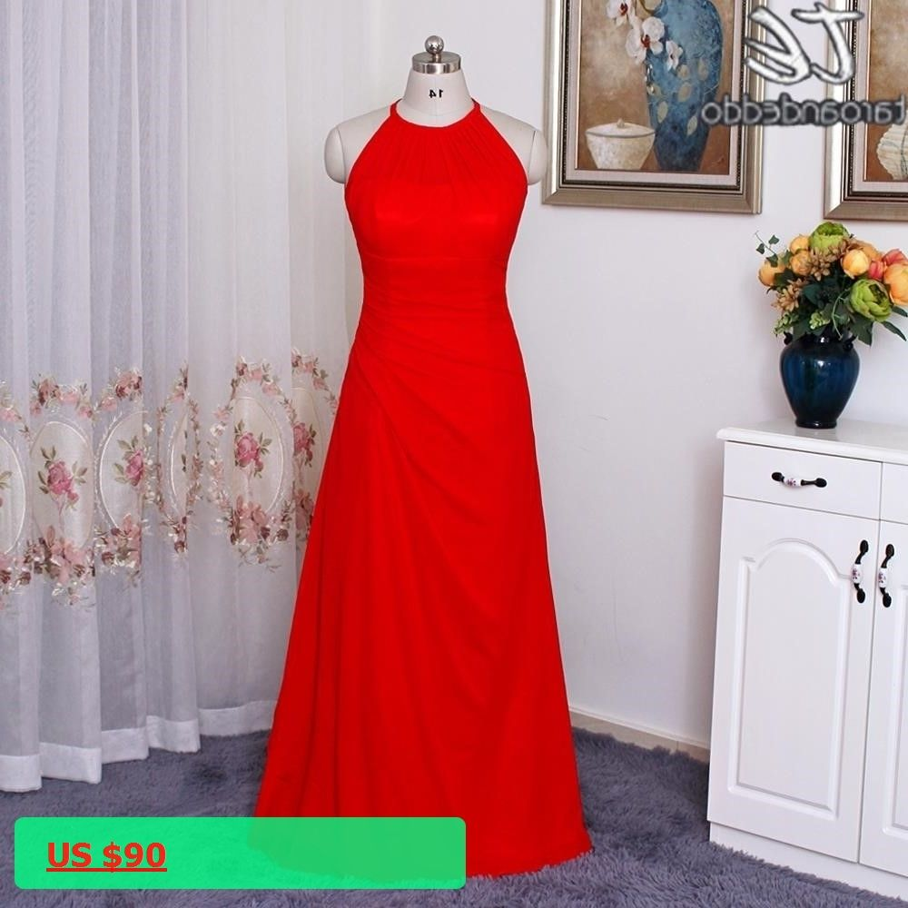 Long red chiffon bridesmaid dress with illusion halter neckline