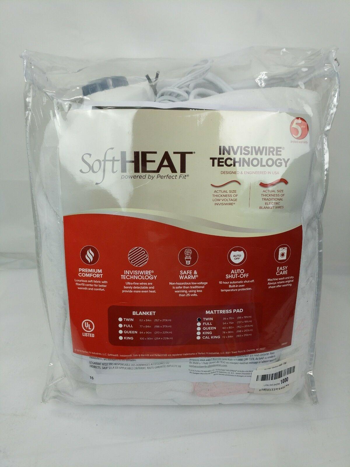 Perfect Fit Softheat Smart Heated Electric Mattress Pad Micro Plush Top Twin Mattress Pad Electric Mattress Pad Mattress