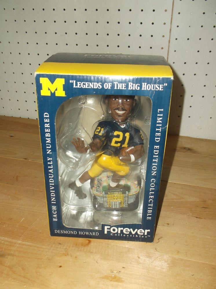 Forever Michigan Desmond Howard Football Bobblehead 132 5000 Rare New Desmond Howard Maize And Blue Michigan