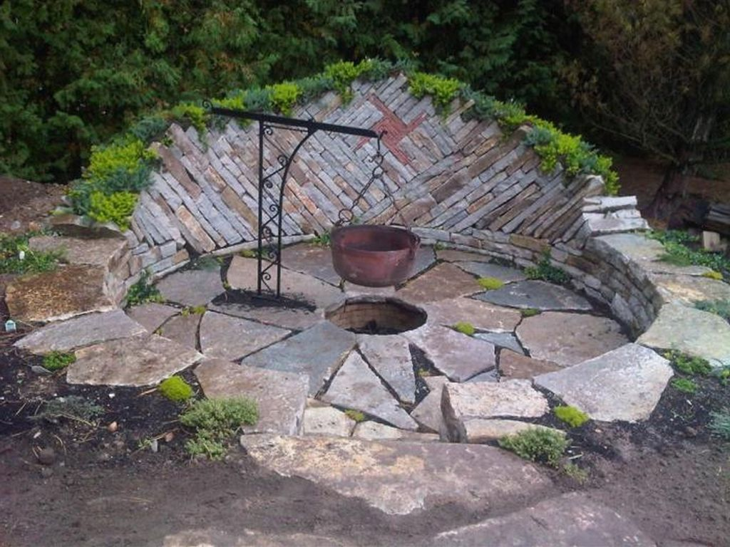 Natural Rock Fire Pit Fire Pit Landscaping Outdoor Fire Cool Fire Pits