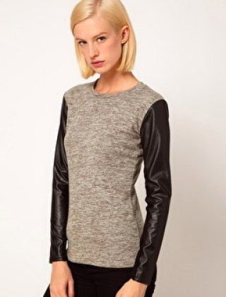 ASOS TOP IN KNIT WITH LEATHER LOOK SLEEVES, $43.12, ASOS.COM