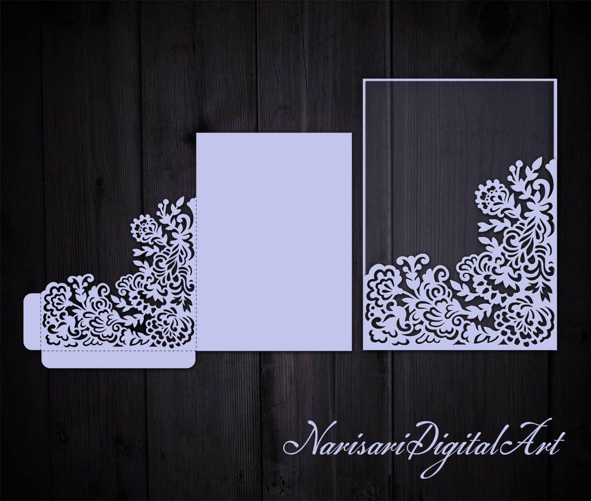 Floral Wedding Invitation Pocket Envelope 5x7 Corner frame, Laser ...