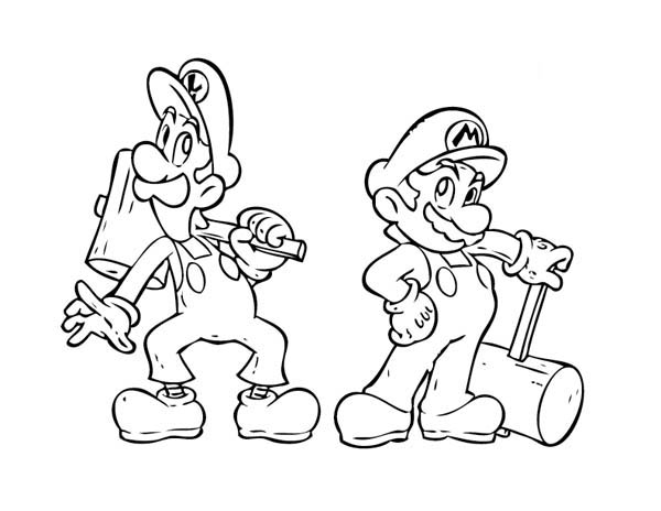 Super Mario Brothers Holding Wooden Hammer Coloring Page Color Luna