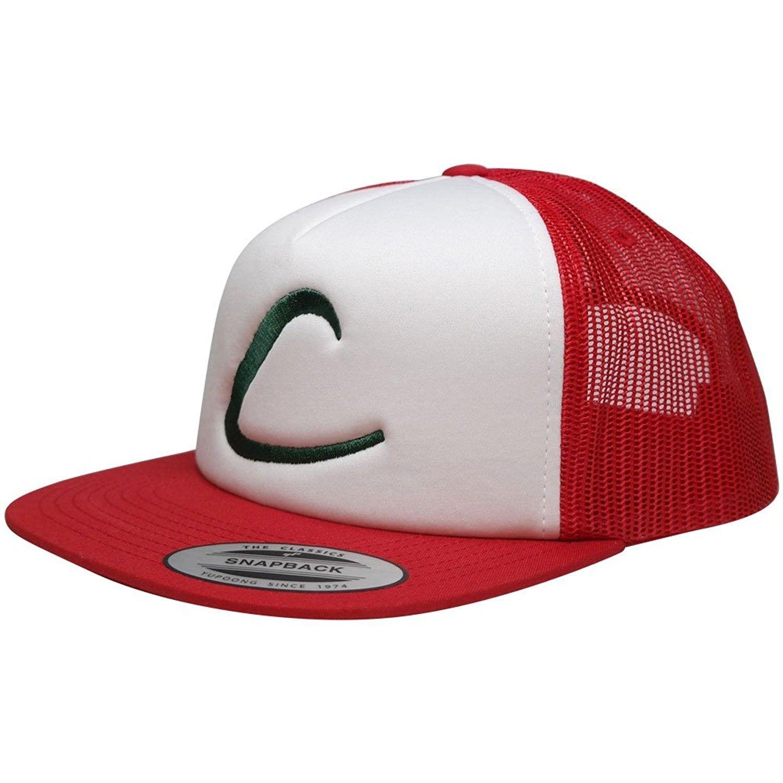 ac41da7b4a9 FLEXFIT Pokemon Trainer Ash Ketchum Embroidered Trucker Foam Mesh Snapback  Cap - Red White - CD12KIIGLDF - Hats   Caps