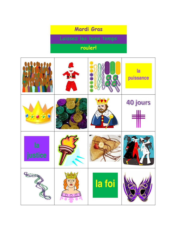 Mardi Gras Loto Bingo Unterrichtsmaterial Im Fach