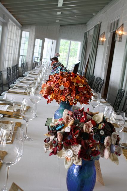Many many fabric flowers centerpieces