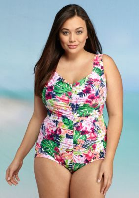 3714a08135 Maxine Plus Size Paradise Palms Shirred One-Piece. Maxine Plus Size  Paradise Palms Shirred One-Piece Palms