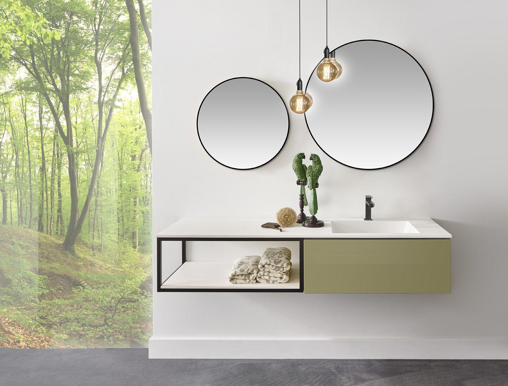 Zwarte Ronde Spiegel : Ronde zwarte spiegel met old green gelakt meubel open frame
