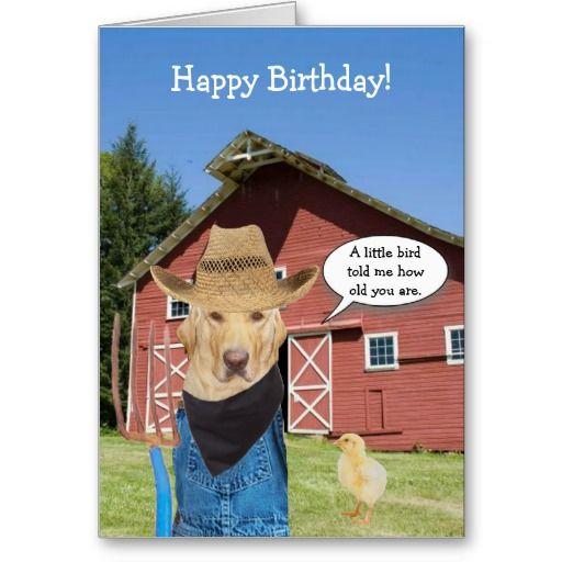 funny lab farmer birthday card