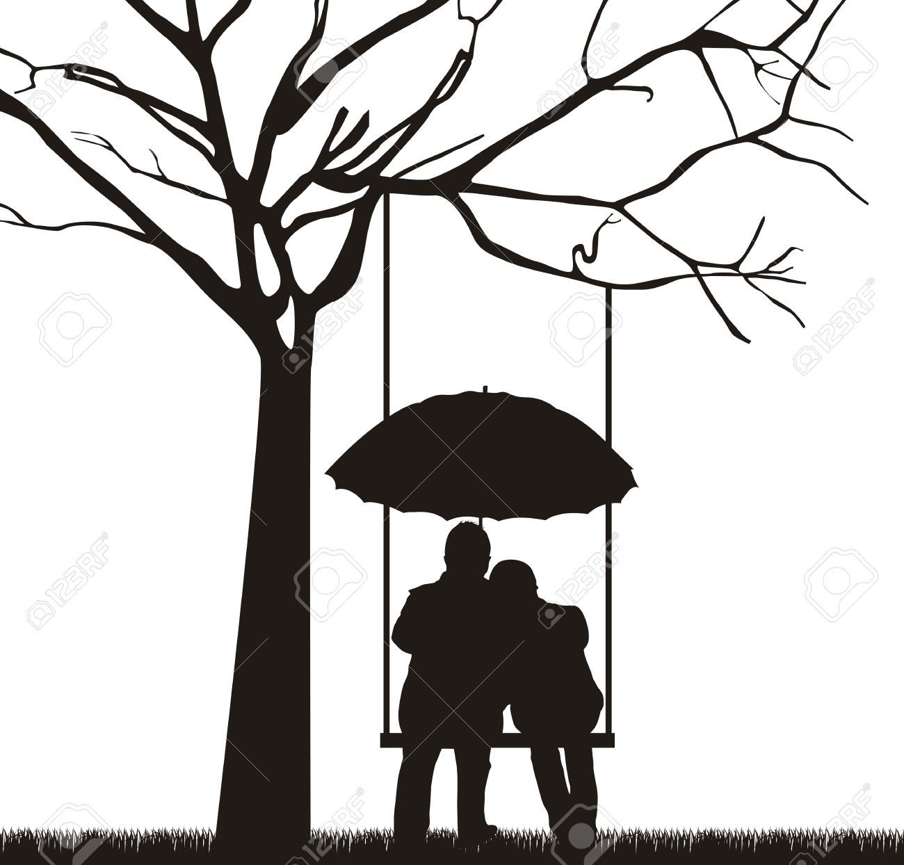 Silhouette Paintings Of People People With Umbrella Black And White Google Search Art