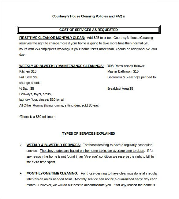 service Contract for residental cleaning , 23+ Simple Contract