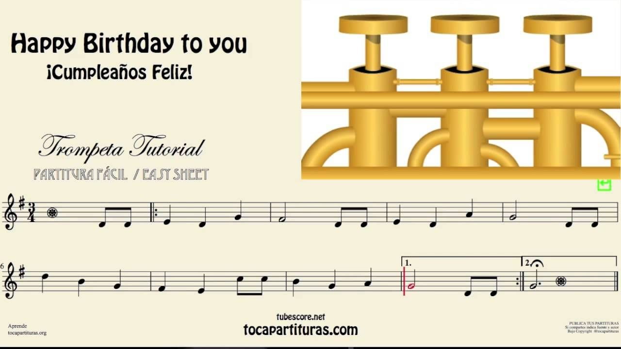 Happy Birthday To You Video Tutorial for Trumpet Easy Sheet Music ...