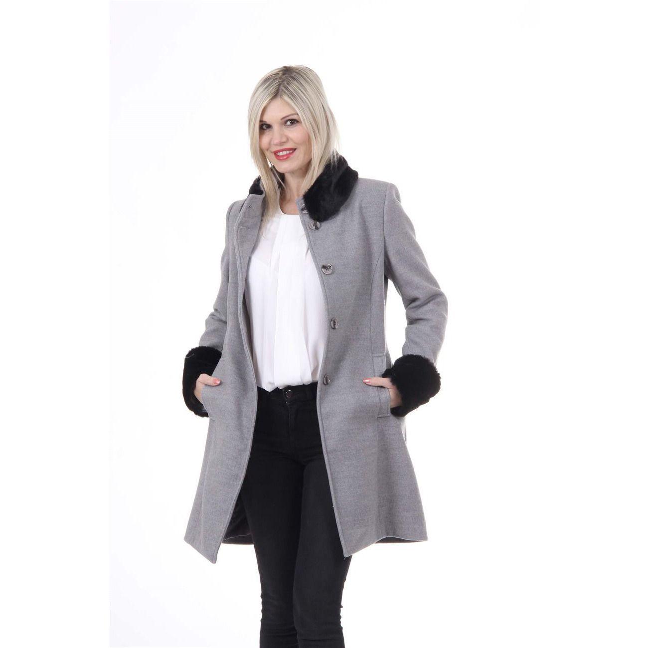 Versace 19.69 Abbigliamento Sportivo Srl Milano Italia Womens Coat CAPPOTTO LINDA TESS. VELOUR + PELLICCIA GRIGIO/NERO