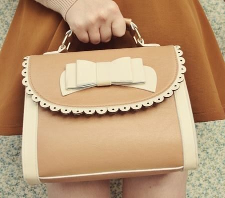 brown and cream little frilly bow girly korean fashion styled handbag