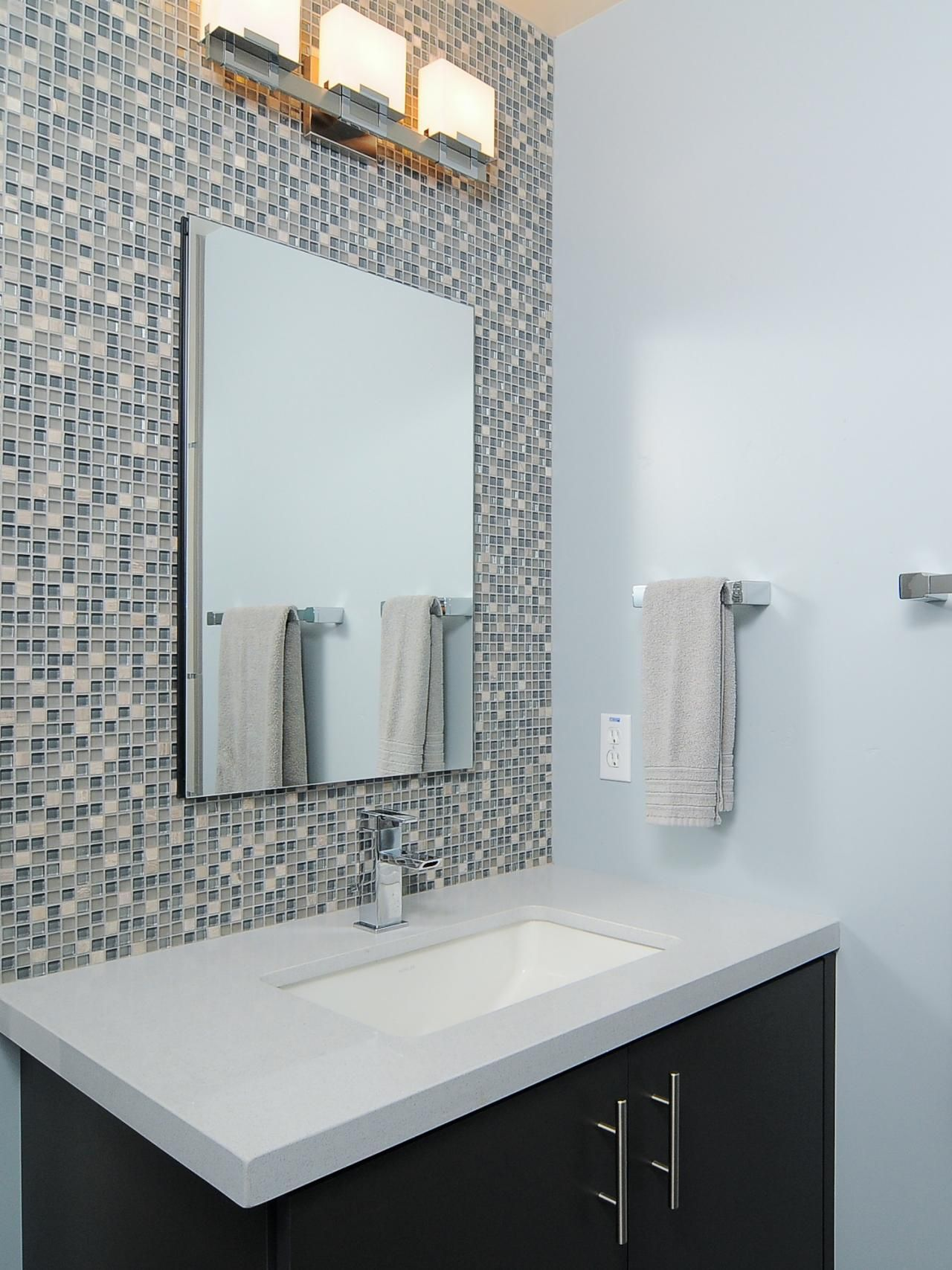 Modern Blue Bathroom With Mosaic Tile Backsplash Hgtv