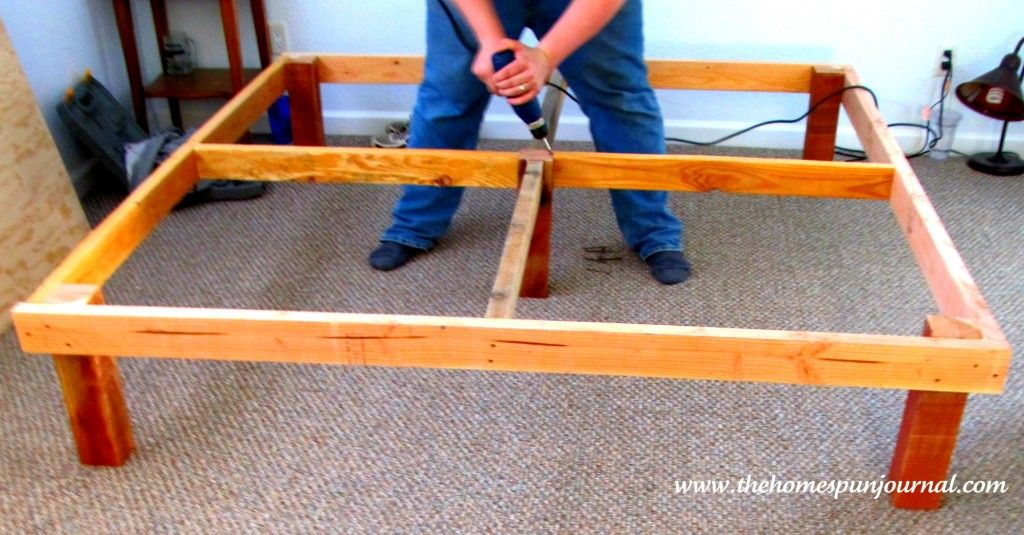 King size platform bed made with 2 x 4 39 s 4 x 4 39 s and plywood securing support from top - Plywood for platform bed ...