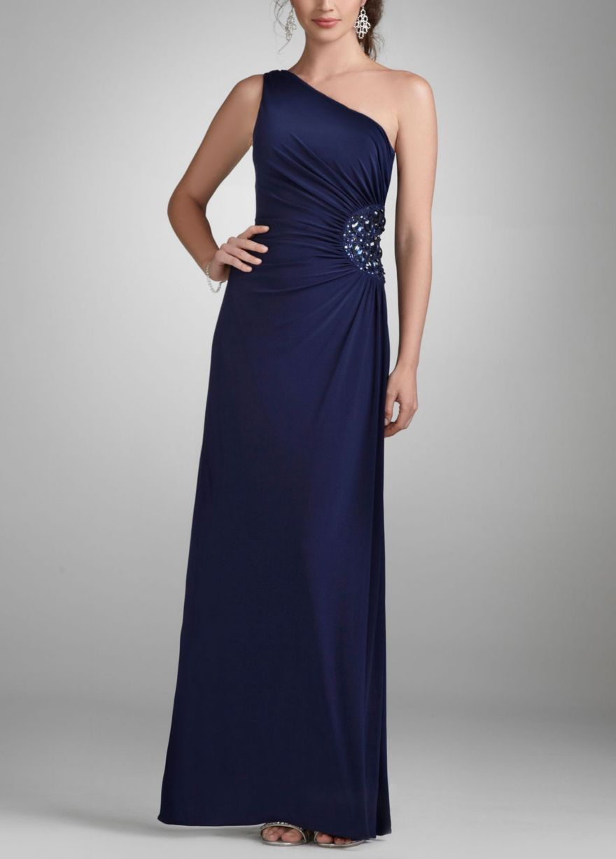 One shoulder evening gown with beaded detail style d special