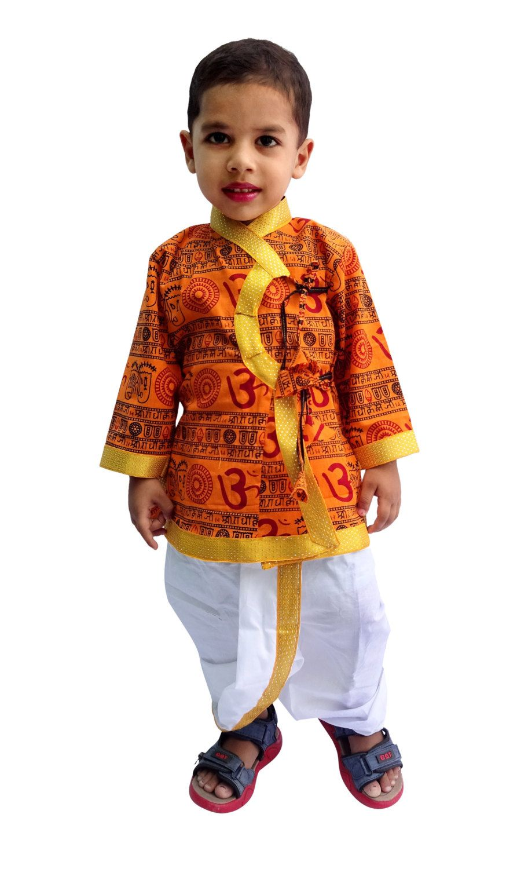 9ea028b9 Indian Om Print Saffron Dhoti Kurta, Boy's Traditional Angrakha Set ...