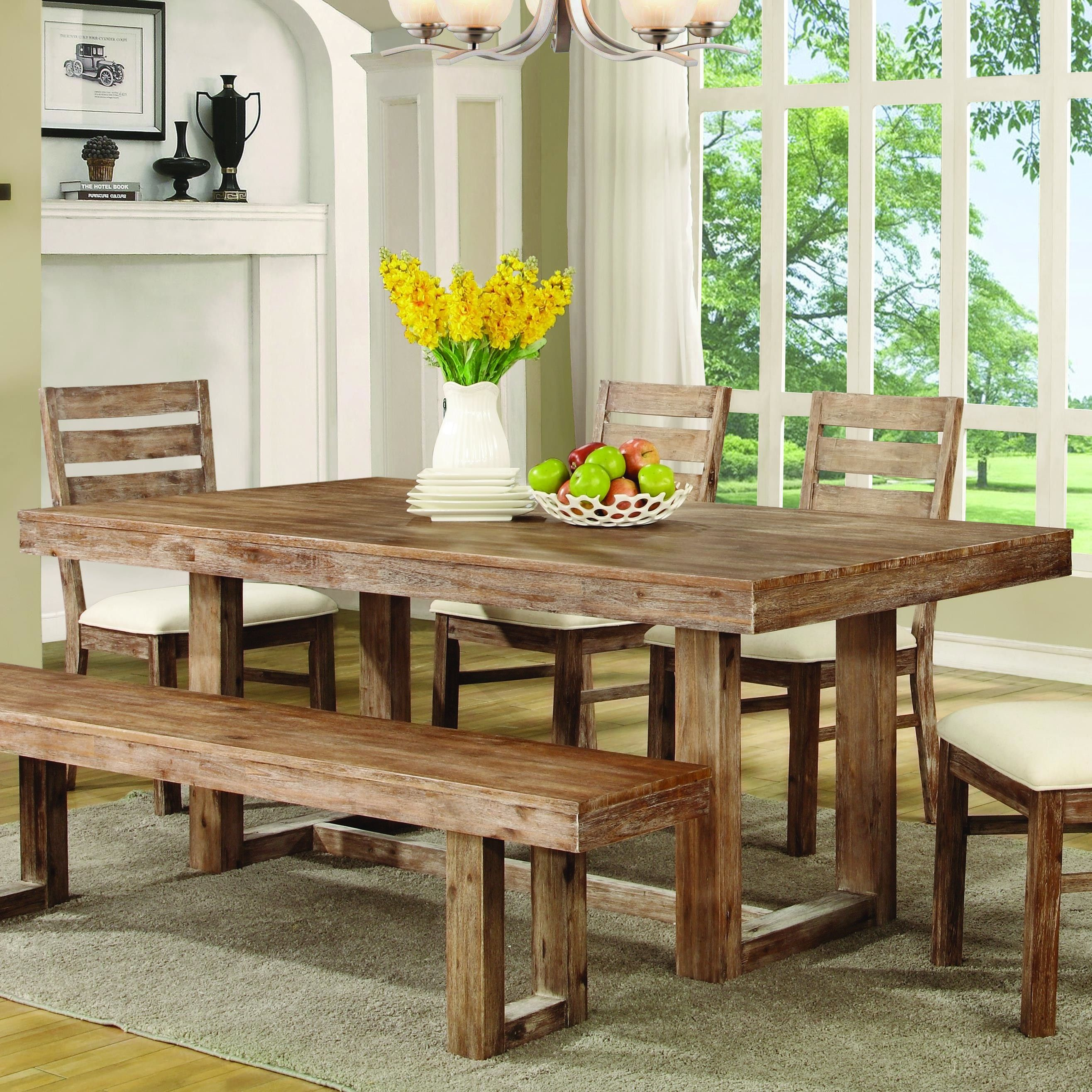 Coaster Furniture 105541 Elmwood Dining Table Weathered Wood