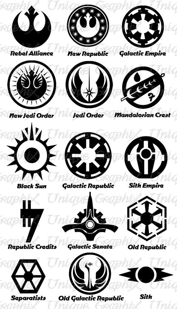 Star Wars Symbols vinyl decal sticker by UniqueGraphix on Etsy, $5.00