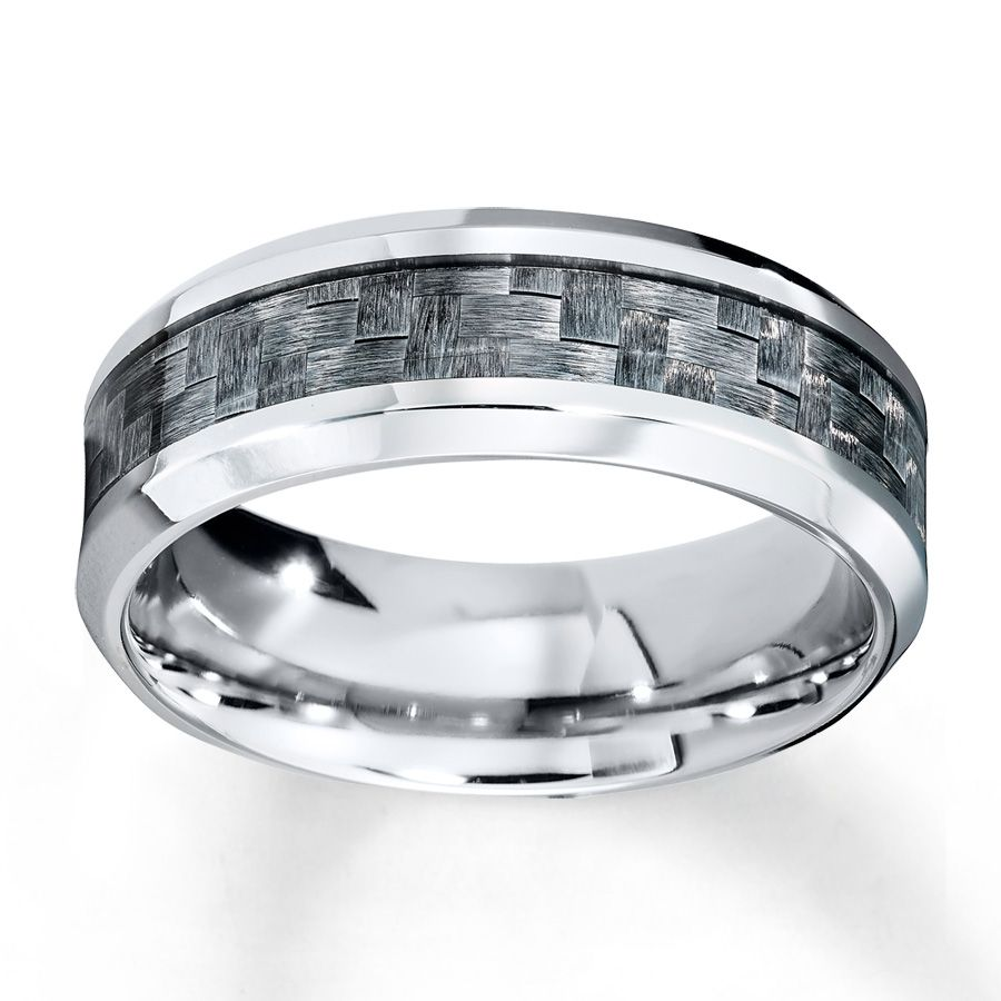 This stainless steel band for him is decorated with grey carbon