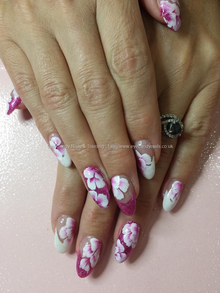 Pink And White Gel With One Stroke Flower Nail Art Nails
