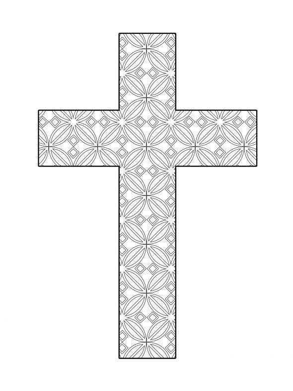 Detailed cross. | Cross coloring page
