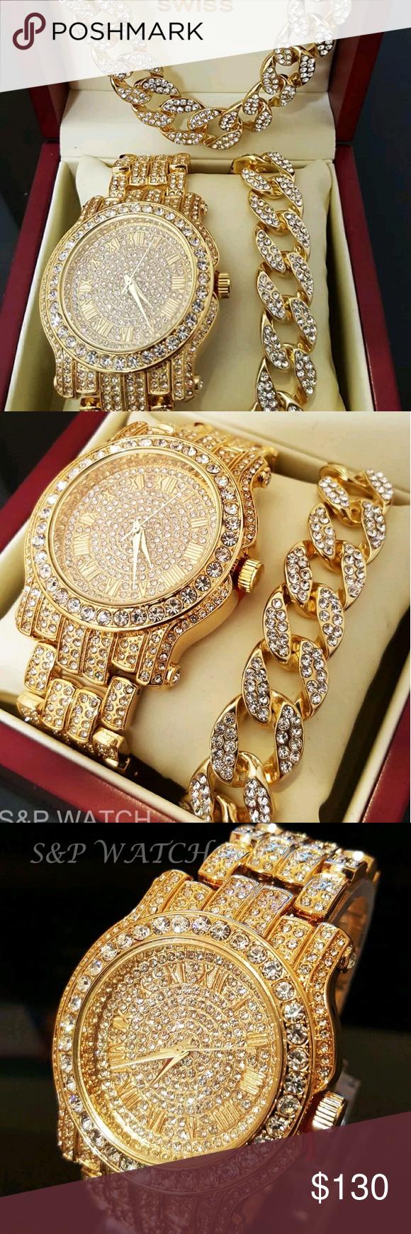Men hip hop iced out gold pt lab diamond watch set boutique hip