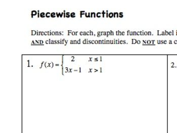 Practice With Piecewise Functions Teaching Algebra Rational