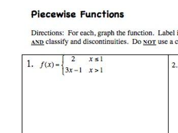 Practice With Piecewise Functions Teaching Algebra Algebra Worksheets Word Problem Practice