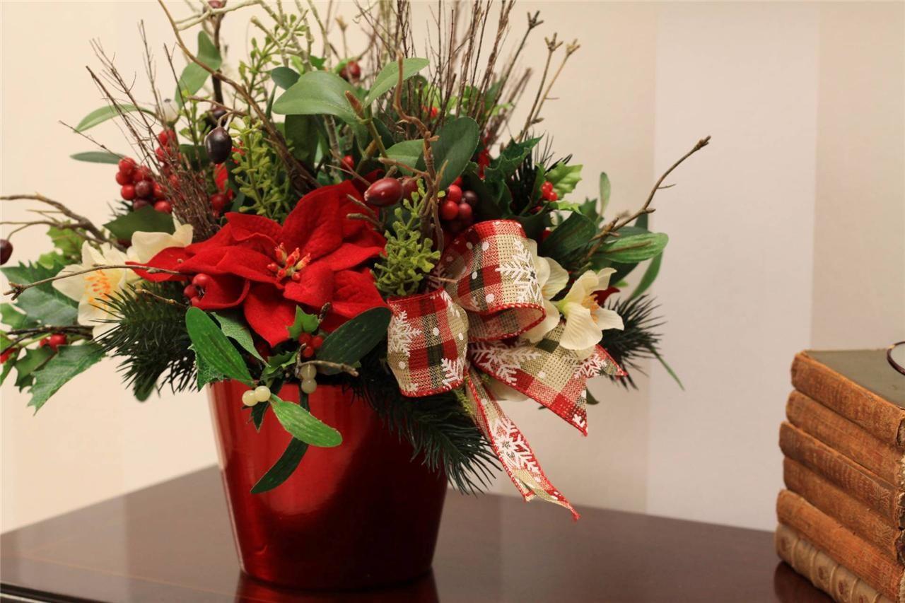 Christmas arrangement artificial silk flower arrangement available christmas arrangement artificial silk flower arrangement available on ebay storesebay mightylinksfo Choice Image