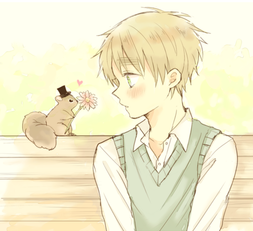 England and his squirrelly little gentleman friend - Hetalia << Look at that tiny hat!