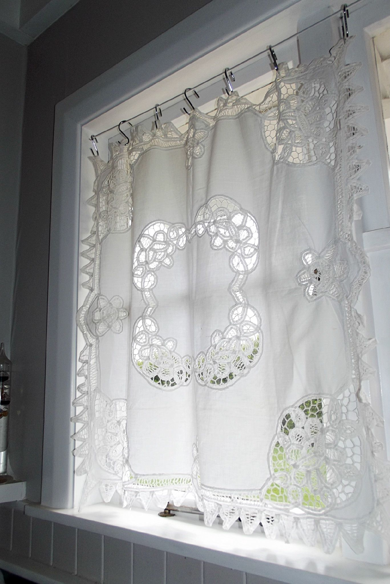 Vintage hand-worked supper cloth as a curtain in our New Zealand ...