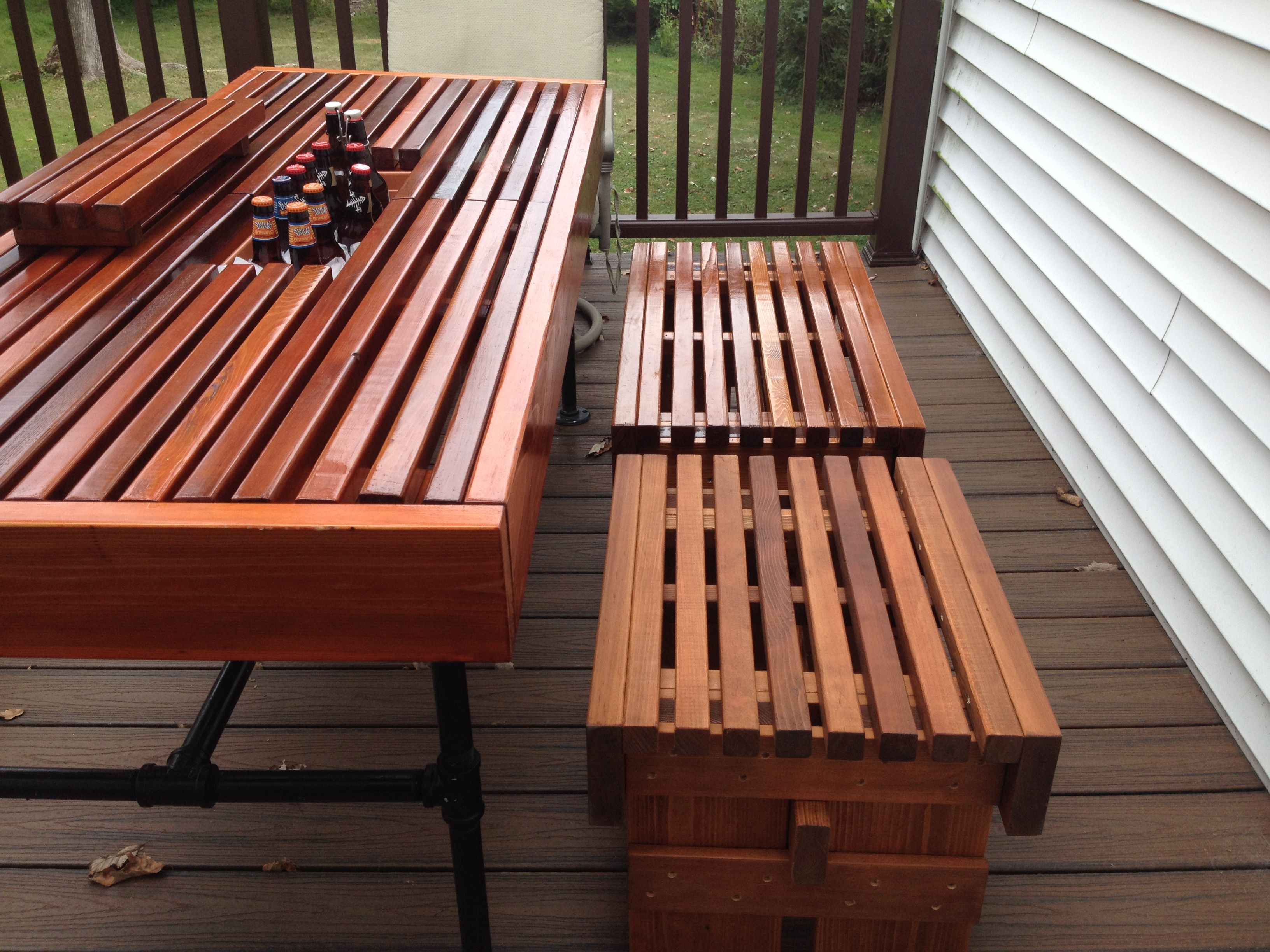 Matching outdoor benches for cooler table
